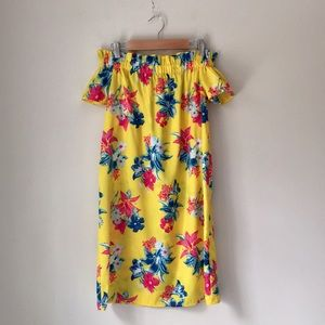 Atmosphere Yellow Hibiscus Off Shoulder Dress